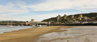 A Low Tide River Conwy, Bridges and Castle Shot Stock Photos