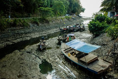Low tide river  in Thailand Royalty Free Stock Photos