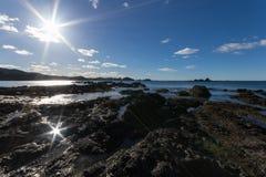 Low tide on rocky coastline Stock Photo