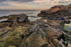 Low tide on rocky New England coastline royalty free stock image