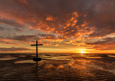 Low Tide Salvation Cross Royalty Free Stock Photos