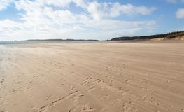 Low tide sandy beach at Newborough in Anglesey royalty free stock image