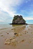 Low tide on a sandy beach, a picturesque bay Royalty Free Stock Image