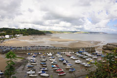 Low tide at Saundersfoot harbour Stock Photography