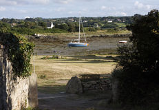 Low tide sea. In Cote d'Armor in Brittany in west of France Royalty Free Stock Photos