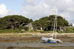 Low tide sea. In Cote d'Armor in Brittany in west of France Royalty Free Stock Photography
