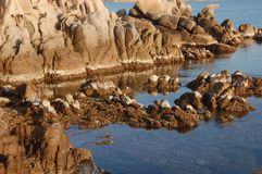 Low tide signal a. Low tide signal on the sea granite Stock Image
