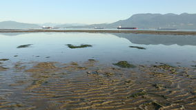 Low Tide, Spanish Banks, Vancouver dolly shot stock video footage