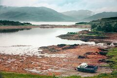 Low-Tide Square Scottish Boat Royalty Free Stock Photo