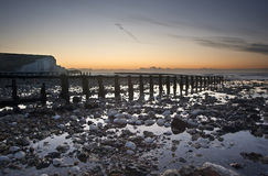 Low tide sunrise at Seven Sisters Royalty Free Stock Photo