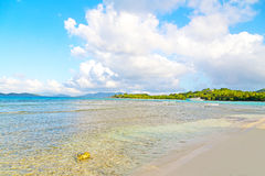 Low tide at sunset on Lindquist Beach, US Virgin Islands. Royalty Free Stock Photography