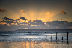 Low tide, sunset seascape stock images