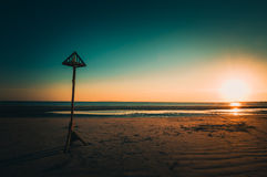 Low tide. Sunset in West Wittering beach Royalty Free Stock Photos
