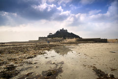 Low tide views of St Michael's Mount Marazion Royalty Free Stock Image