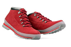 Low top hiking boots over white Royalty Free Stock Photography