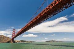 Low view of Golden Gate Bridge. Low view of popular landmark Golden Gate Bridge Royalty Free Stock Photography