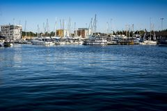 Blue waters on Ipswich waterfront at the Neptune Marina Royalty Free Stock Images