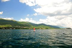 Low View over Lake Ohrid, Macedonia. Horizontal photo from lake Ohrid, Macedonia.  Mountains in the background. Low angle shot Royalty Free Stock Photo