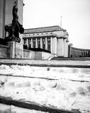 Trocadero winter. Low view to la place du trocadero Royalty Free Stock Images