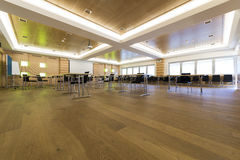 Low view in wooden class or conference room Stock Image