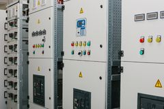 Manufacture of low-voltage cabinets. Modern smart technologies in the electric power industry. The use of electrical. Low-voltage cabinet. Modern smart Royalty Free Stock Images
