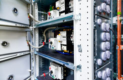 Low-voltage cabinet for power and distribution electricity Royalty Free Stock Photo
