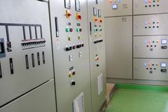 Low-voltage cabinet in a water treatment plant stock photos