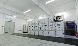 Low voltage distribution cells. Modern low voltage feeders inside an electrical clean room. In these rooms, the low voltage electrical energy is being Stock Image