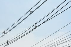 Low Voltage Power Cable and clear sky stock images