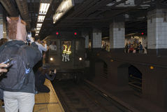 Low Voltage train stops at 42nd street headed to Yankee Stadium Royalty Free Stock Photo