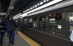 Low Voltage train at Yankee Stadium station for opening day game Royalty Free Stock Images