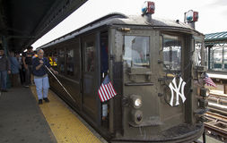 Low Voltage train at Yankee Stadium stationi for opening day gam Stock Photo