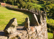Low wall with stones in row Royalty Free Stock Image