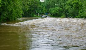 Low Water Bridge Covered By Flood Water Royalty Free Stock Photo