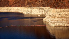 Low Water Level of Lake Mead Reservoir at Hoover Dam Royalty Free Stock Photos