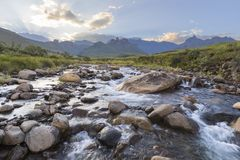 Low water level in river. Drakensberg South Africa royalty free stock photos
