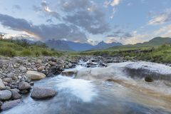 Low water level in river. Drakensberg South Africa stock photography