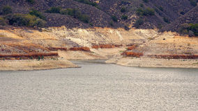Low Water Levels at Lake Cachuma Due to Severe California Drough Stock Photo