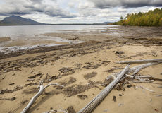 Low water makes a wide beach at Flagstaff Lake, Maine. Stock Photography