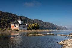 Low water in the Rhine river at Pfalzgrafenstein. Hessen, Germany royalty free stock photography