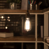 Low Watt Tungsten Bulbs. Hanging from Cord Stock Photography