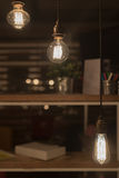 Low Watt Tungsten Bulbs. Hanging from Cord Stock Images