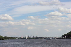 Low white clouds over the river Dnepr Stock Image