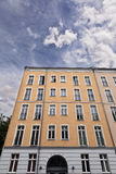 East Berlin Low Angle Building and Cloudy Sky Royalty Free Stock Images