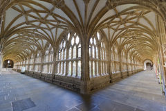 Cloisters at Wells Cathedral. Low, wide angle view of the cloisters at Wells Cathedral in Wells, Somerset, UK Stock Images