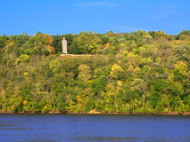 Lowden State Park Illinois. The Black Hawk Statue towering high above the Rock River at Lowden State Park in northern Illinois Royalty Free Stock Photos