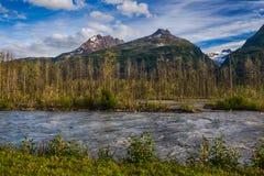 Lowe-Fluss und Chugach-Berge in Alaska Stockfotografie