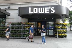Lowes Store. A Lowe`s store in New York City. Lowe`s is a company that operates a chain of retail home improvement and appliance stores in the United States Stock Images