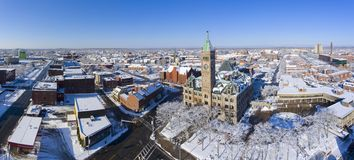 Free Lowell City Hall Aerial View, Massachusetts, USA Royalty Free Stock Photo - 111116465