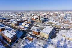 Lowell City Hall aerial view, Massachusetts, USA. Lowell City Hall and downtown aerial view in downtown Lowell, Massachusetts, USA Royalty Free Stock Image